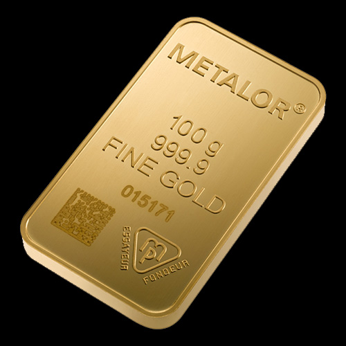Metalor Guldbarre Stanset 100 G.