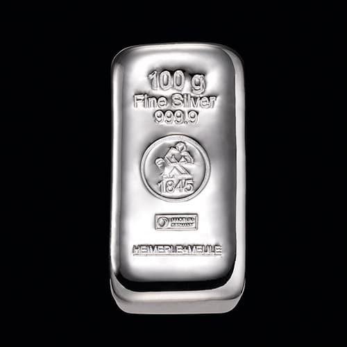 Sølvbarre Støbt 100g