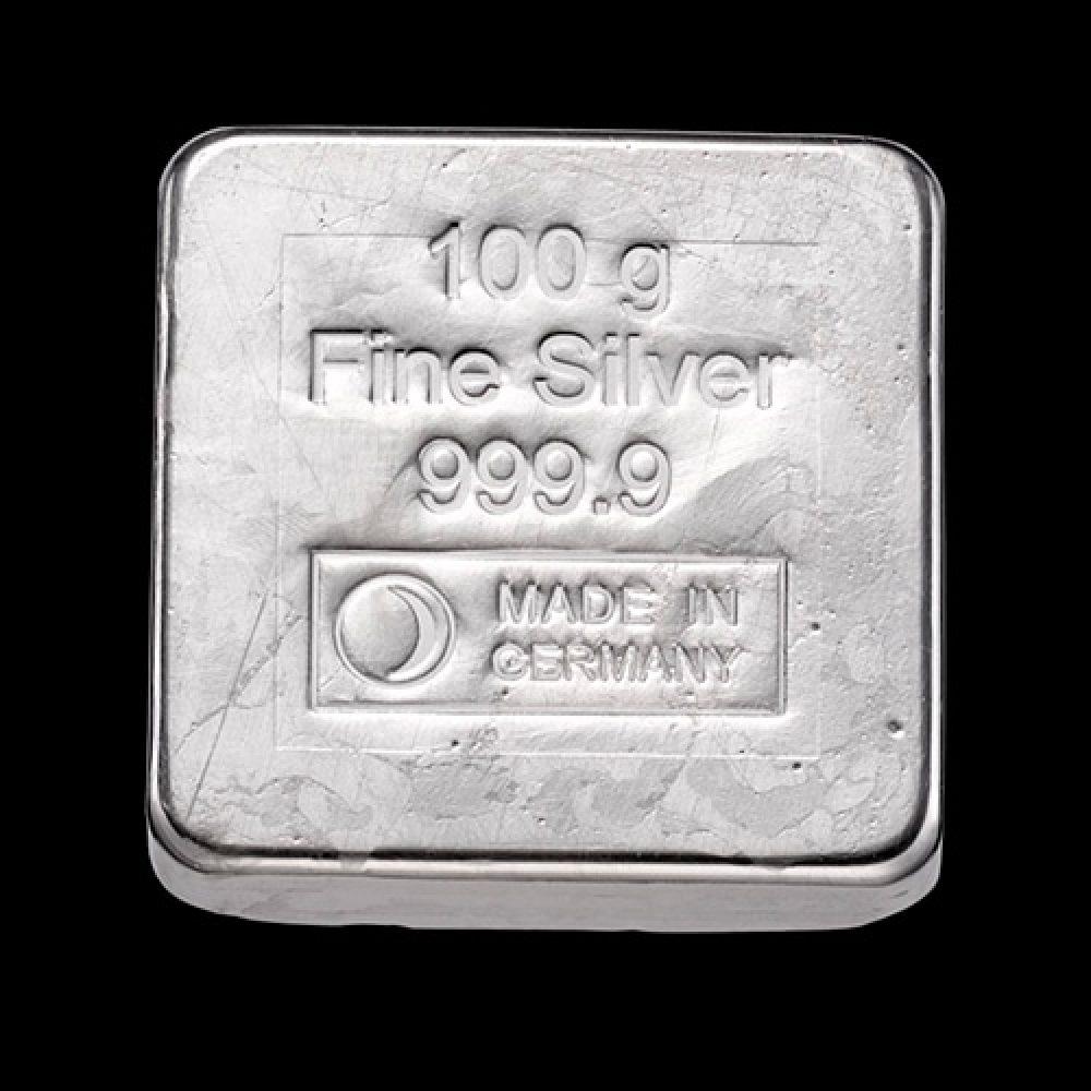 Sølvbarre Støbt Kvadrat 100g back