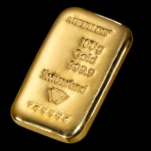 Metalor Guldbarre Støbt 100 G.