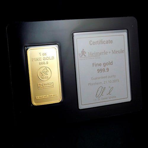 Guldbarre Stanset 1Oz Certificate