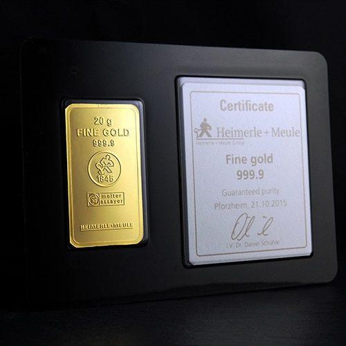 Guldbarre Stanset 20g Certificate