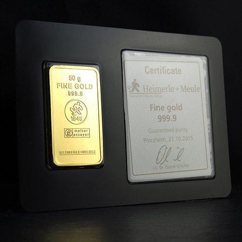 Guldbarre Stanset 50g Certificate