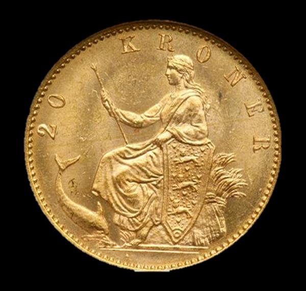 christian ix 20 kr guldmønt bagside