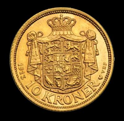 christian x 10 kr guldmønt bagside