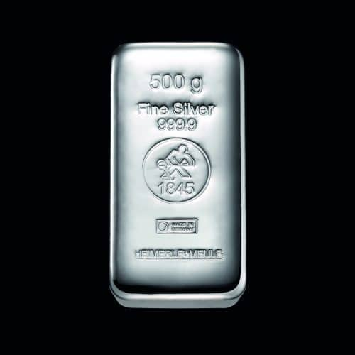 Sølvbarre Støbt 500g