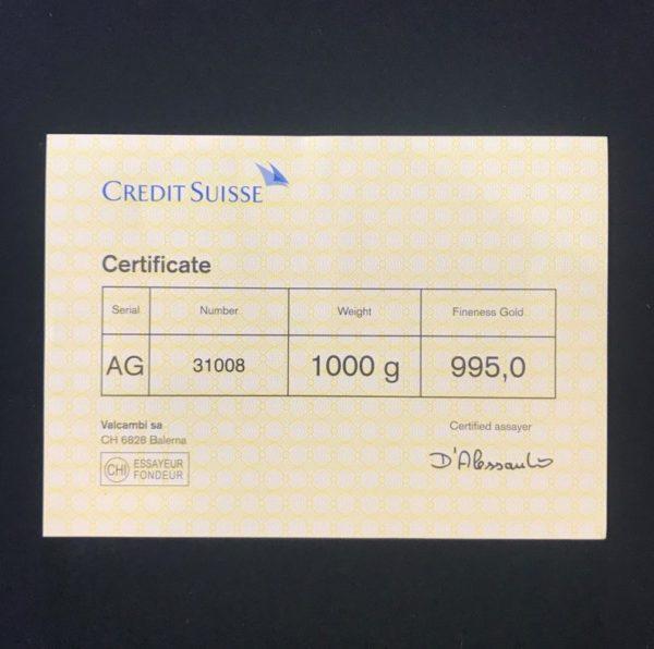 Credit Suisse Certificate 1000g